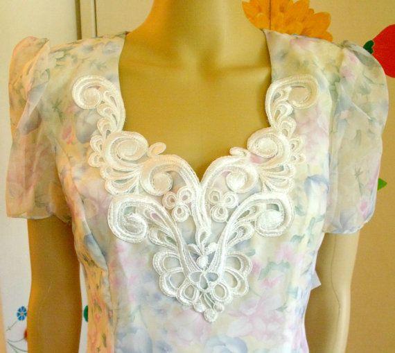 Vintage 1980s Jessica McClintock Dress White by VaylaRoseVintage