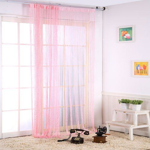 "Pink Color String Curtains 40"" X 110 ""Door Window Room Divider Drape Treatments for Living Room foire http://www.amazon.com/dp/B00K75J7KC/ref=cm_sw_r_pi_dp_HgwJtb12FTSCRXY9"