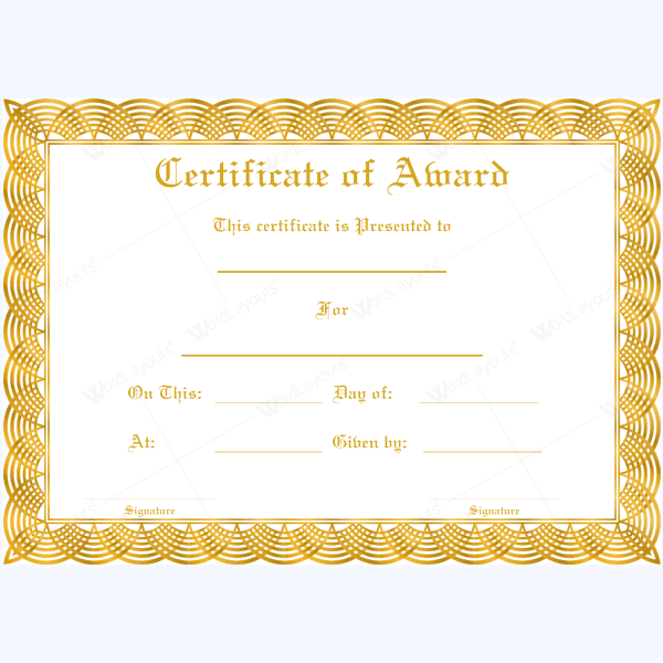 Award Certificate Circle Chains Border Word Layouts Certificate Templates Certificate Design Template Awards Certificates Template