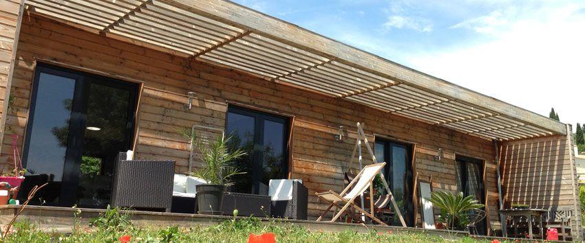 Maison ossature bois, maison bois contemporaine, toit plat, maison ...