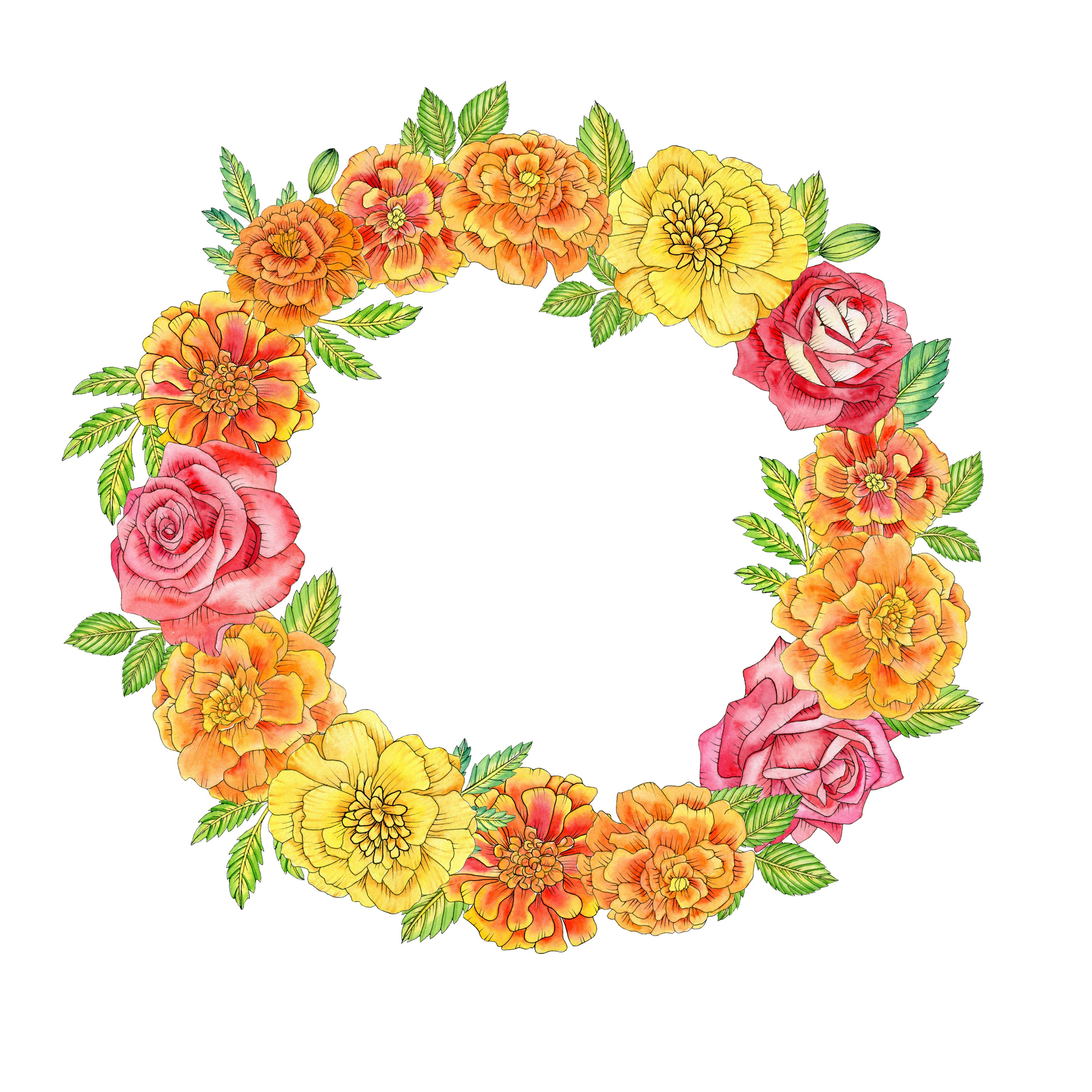 Watercolor Mexican Floral Arrangements Clipart El Dia De Etsy Wreath Clip Art Flower Frame Png Flower Frame