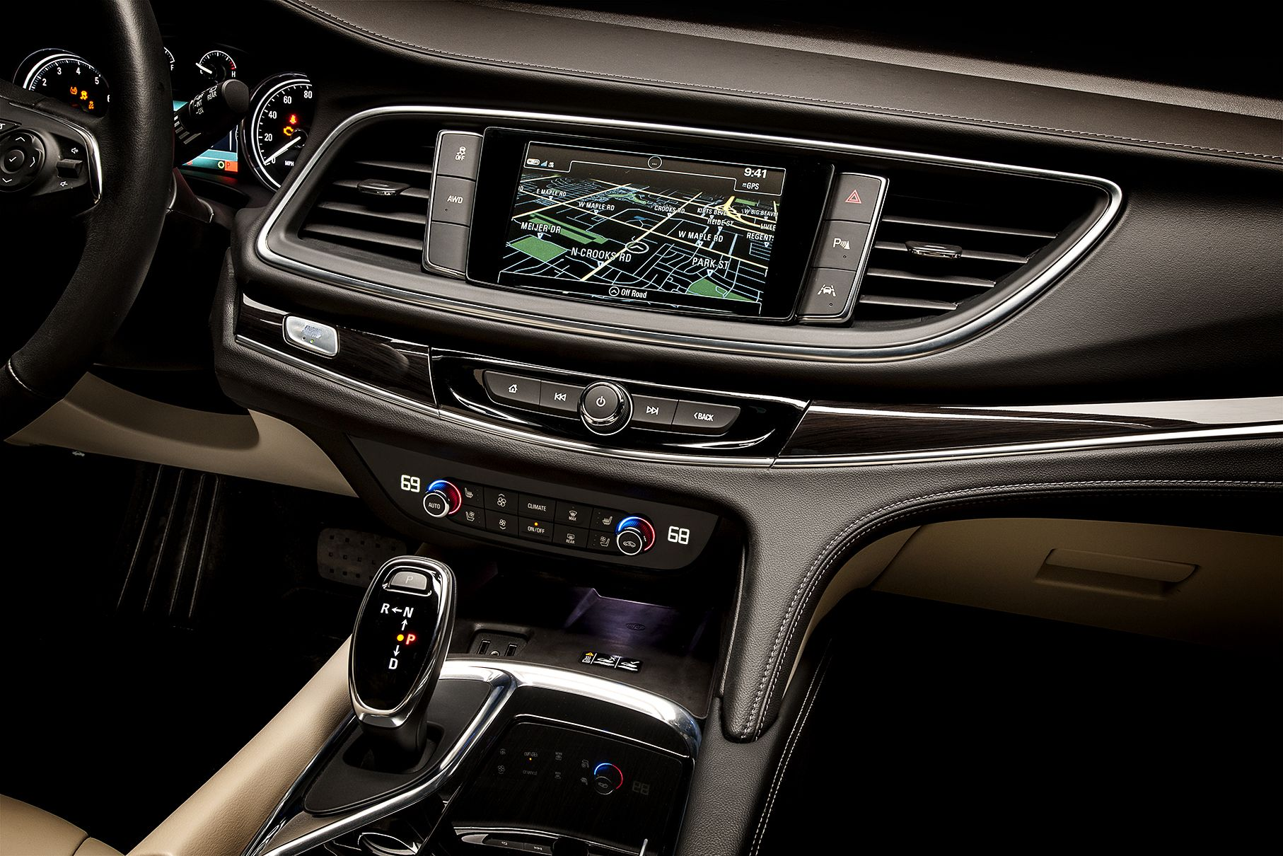2018 buick enclave center stack featuring touch screen navigation
