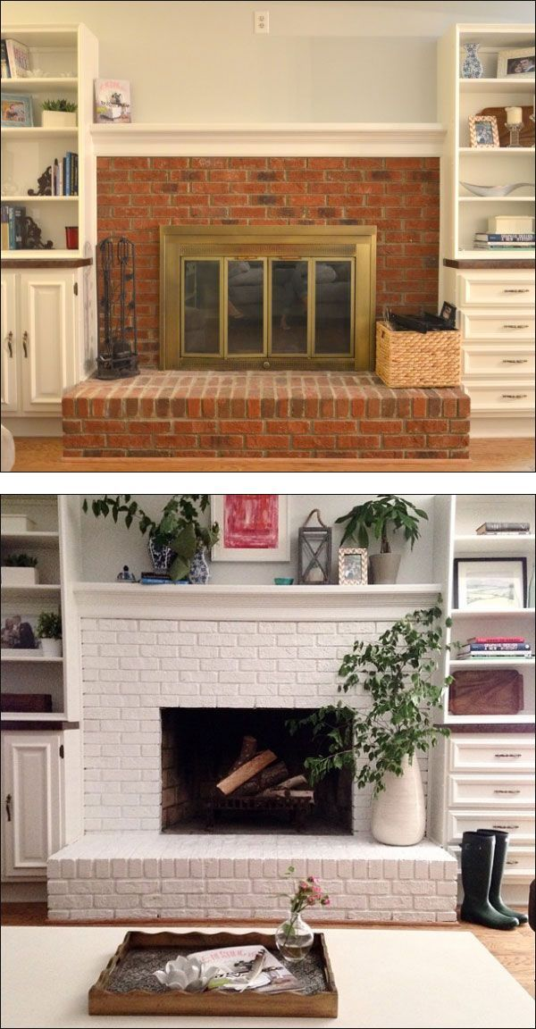Unique Brick Fireplace Painted White