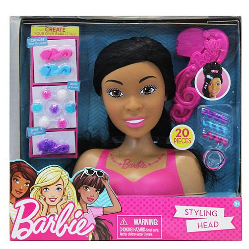 Barbie Styling Head African American Includes 20 Pieces Styling Head 3 Hair Spirals 3 Barrettes 8 Gems And 4 E Barbie Styling Head Barbie African American