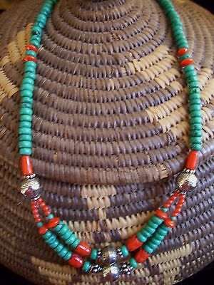ESTATE NAVAJO TURQUOISE HEISHI & CORAL NECKLACE W OLD PAWN STERLING SILVER BEADS