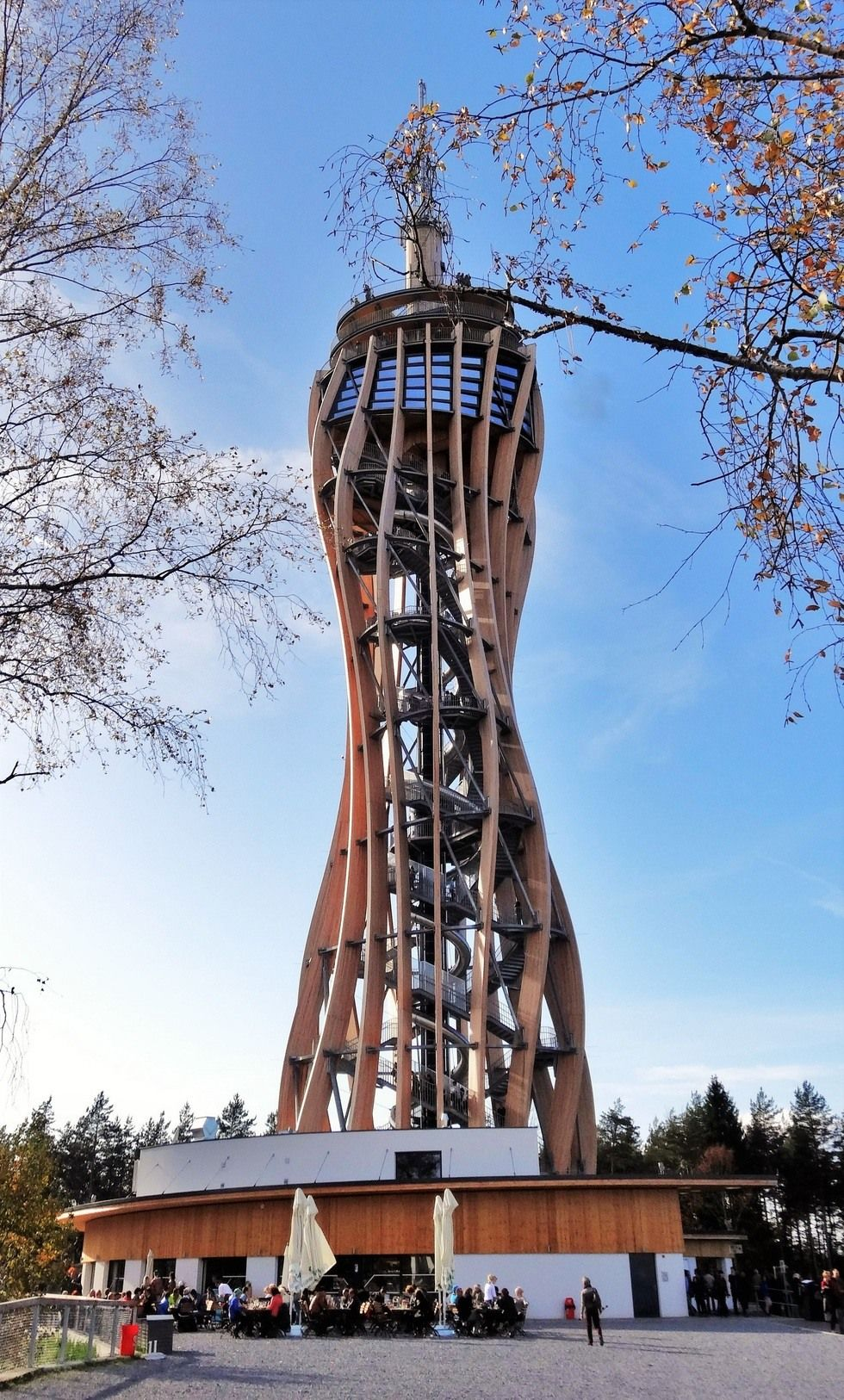 Pyramidenkogel Observation Tower This spire on an Austrian mountain is wrapped around a long spiral slide and has the world's tallest wooden observation deck.