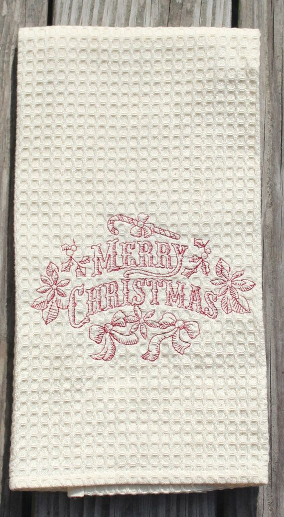 christmas kitchen towel embroidered merry christmas tea towels christmas gifts kitchen decor