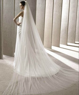 2T 2.8M Long Soft Tulle Ivory/White Bridal Veil Chapel Train Wedding Veil AU $19.99