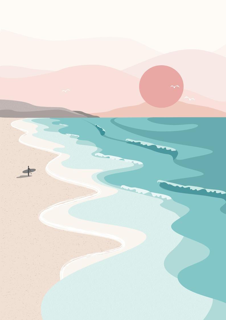 Sunset Surf, Mer, Plage, Art Print, Accueil et Bureau, Été, Vacances, Cornwall, St Ives, Porthmeor