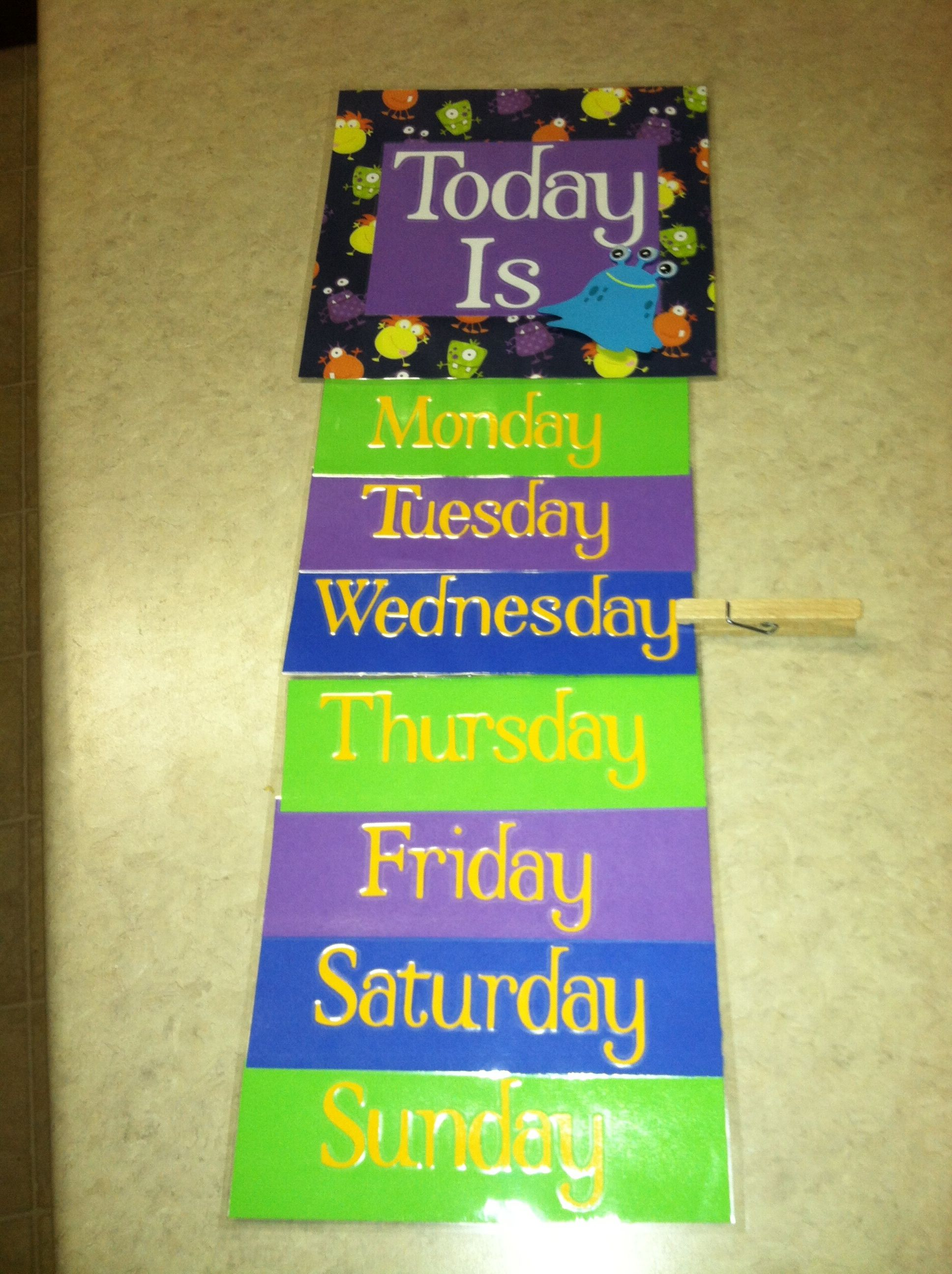 DIY days of the week for preschool! | Damon Preschool Ideas ...