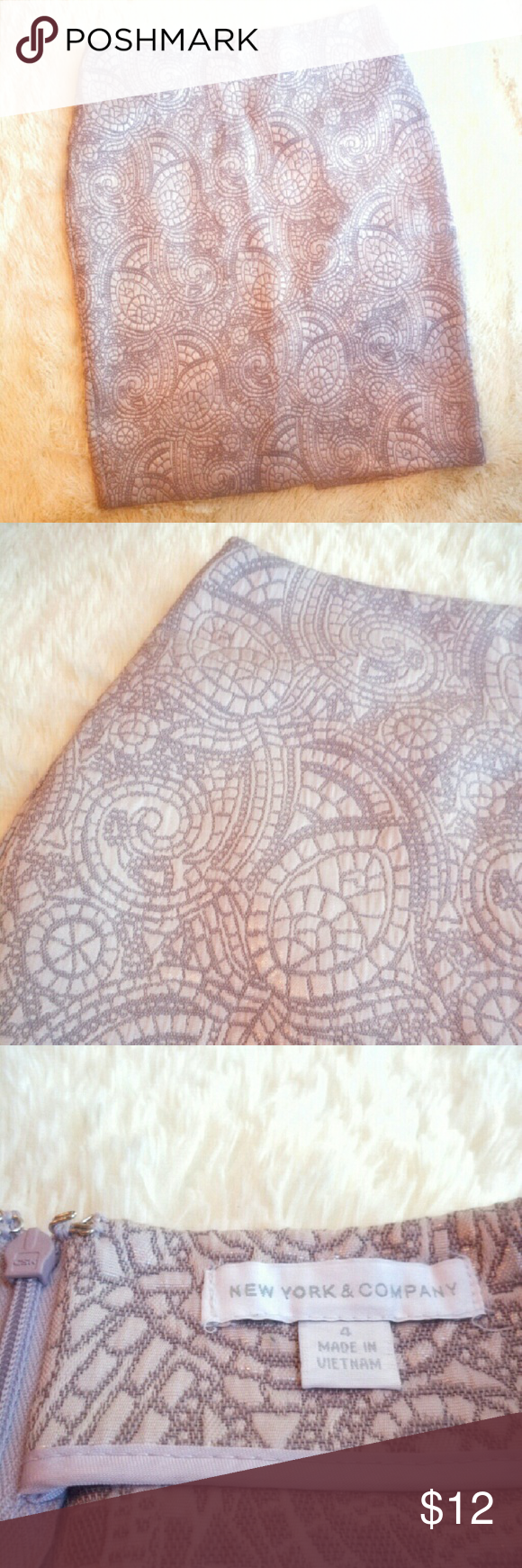 New York & Co | Rose Gold Paisley Pencil Skirt Beautiful Rose Gold Paisley Pencil Skirt comes right to the knee, Nice material  and has a little stretch to it. New York & Company Skirts Pencil