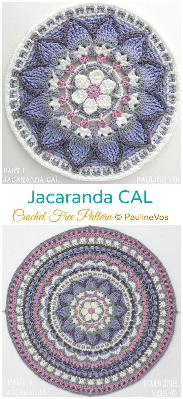 Jacaranda Blanket CAL Crochet Free Pattern #crochetmandalapattern