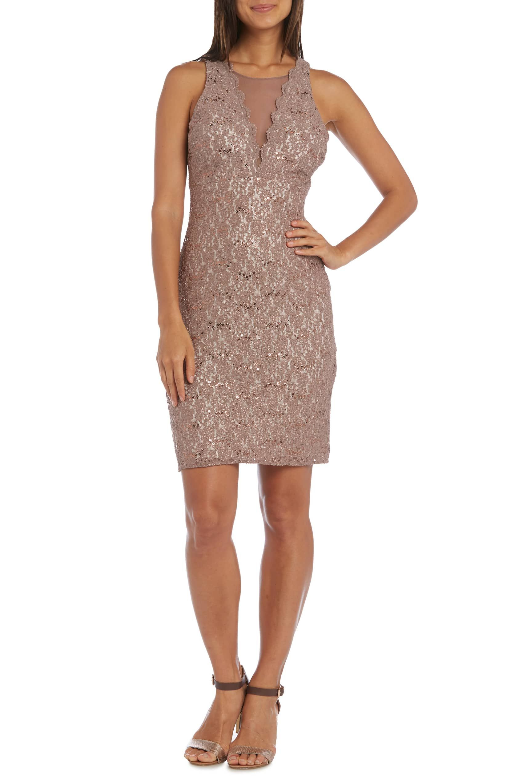 d5e77d9de New Morgan amp;. Lace Illusion Sheath Dress, Main, color, TAUPE/ IVORY