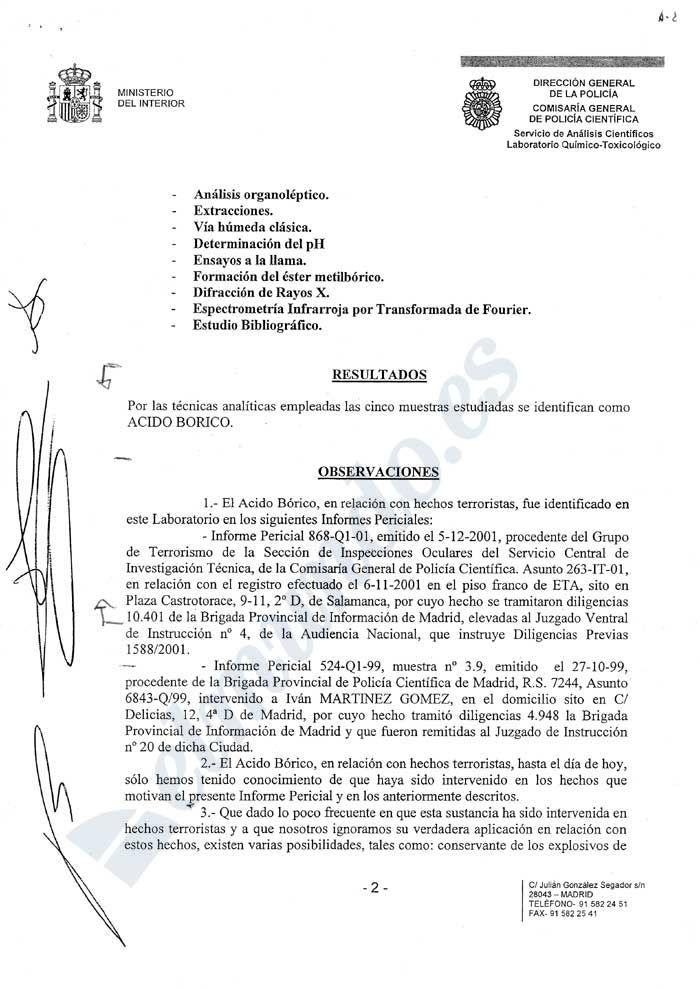 Doc-2: Documento de Juicio. Informe policial Técnico interno y vinculante. Documento del Ministerio del Interior - procedente de la Administración Estatal. Mª del Carmen García Blánquez