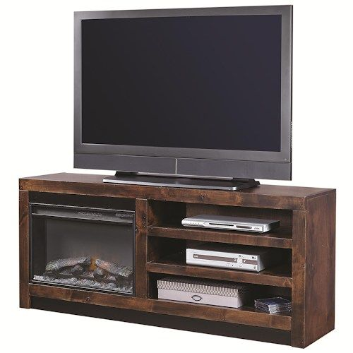 Aspenhome Contemporary Alder 65 Inch Fireplace Console with 2