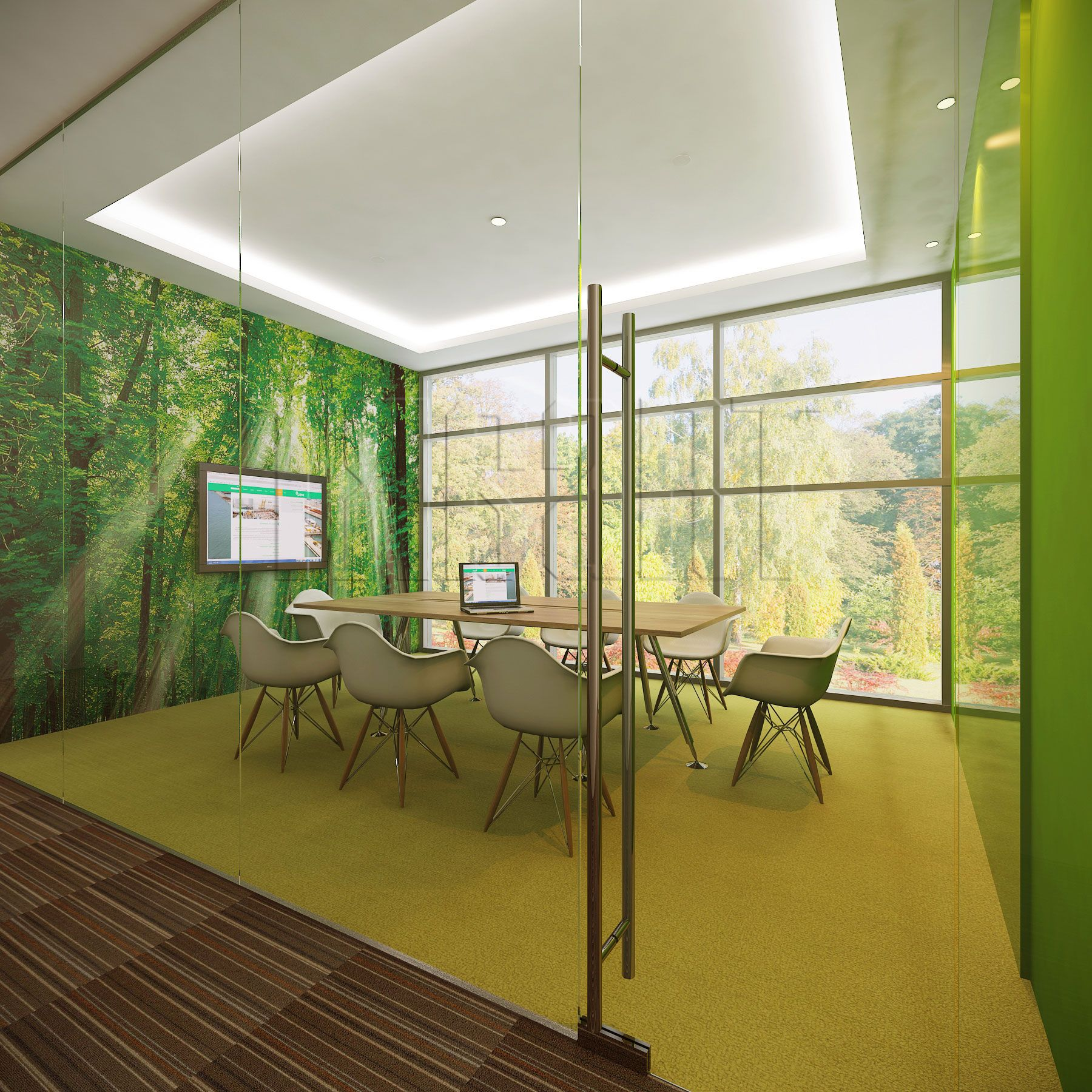 Forest Meeting Room suitable for 8 people. With green colored carpet ...
