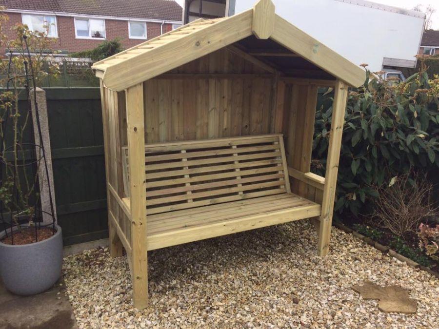 1 67m Cottage Arbour 3 Seater Enclosed Garden Arbour Seat Arbour Seat Modern Garden