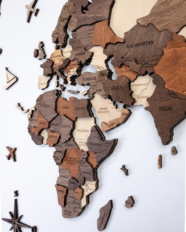 carte du monde bois Carte en bois de la carte du monde 3D   ENJOYTHEWOOD | MOM (avec