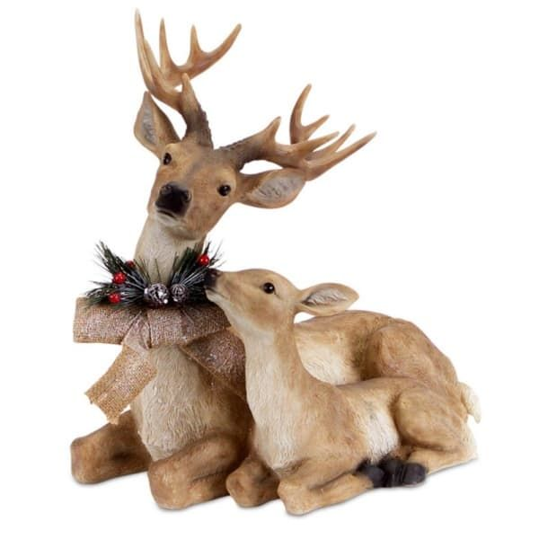 17 sitting deer and fawn with snow flocked burlap bow christmas decoration