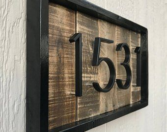 Photo of Rustic Painted House Number Sign | Farmhouse Address Sign | Distressed House Number Sign | Reclaimed Wood Address Sign |Painted Address Plaq