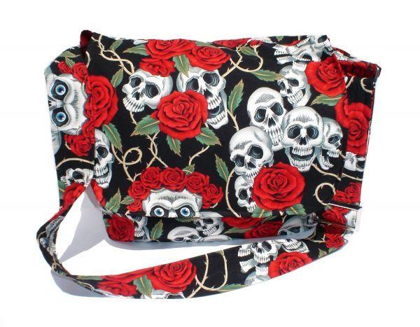 Red Roses And Skulls Diaper Bag