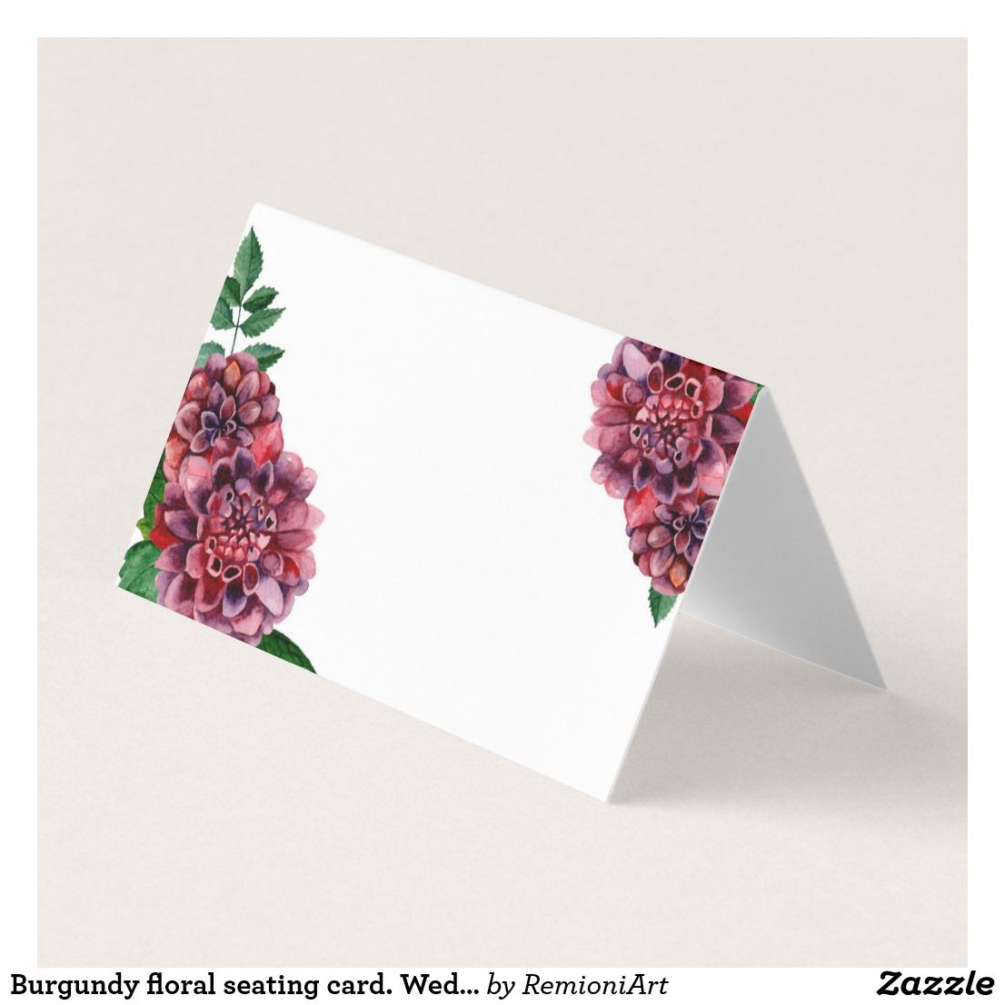 Burgundy Floral Seating Card Wedding Dahlia Place Card Seating