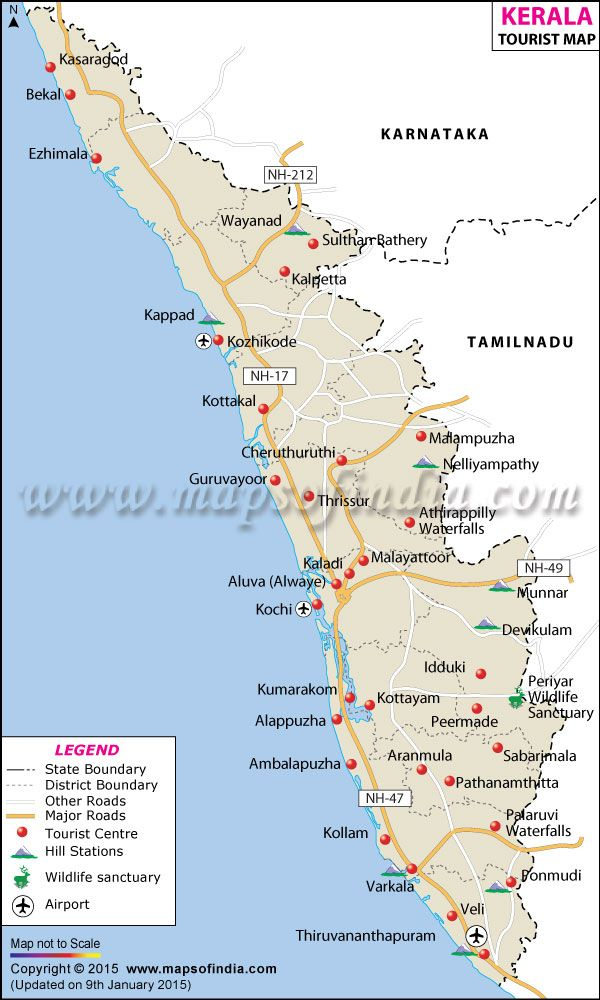 Travel Map of Kerala Kerala in 2019 Pinterest