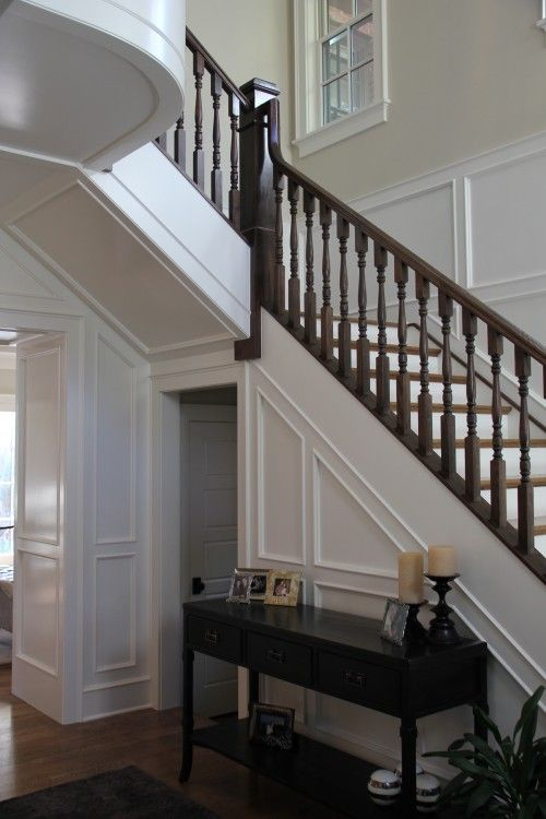 Best White Woodwork W Dark Banister Wainscoting Styles 640 x 480