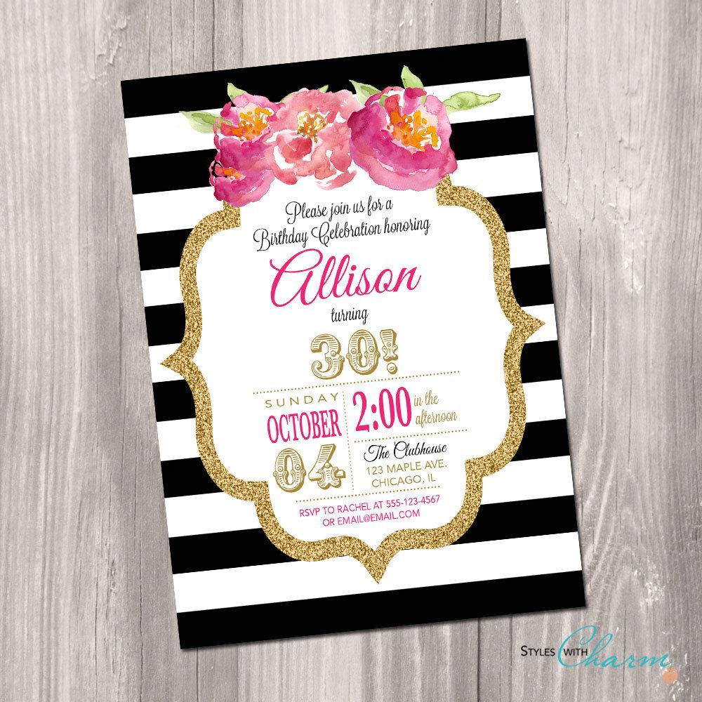 30th 40th 50th 60th birthday invitation sweet sixteen black and