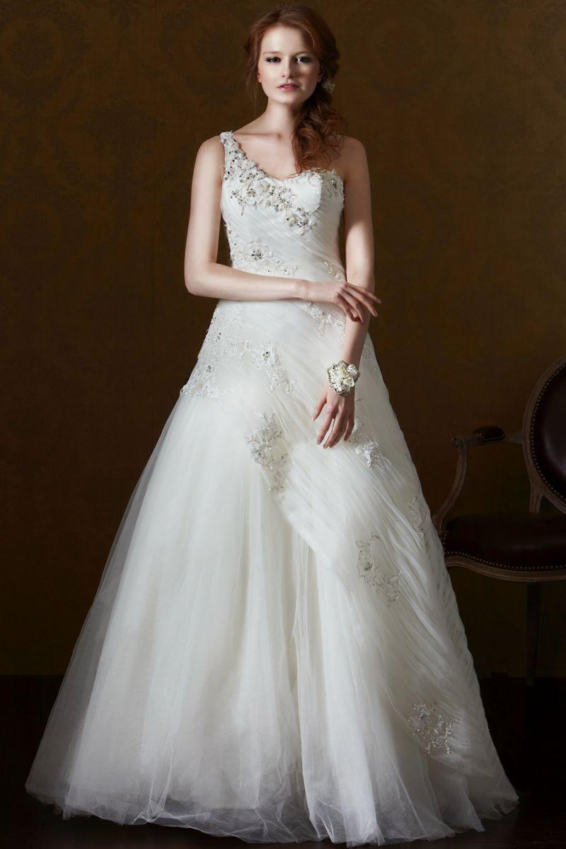 One Shoulder Chapel Train Tulle A Line Wedding Dress