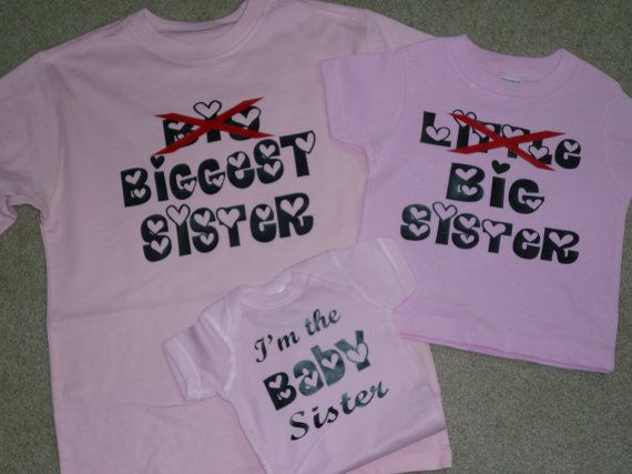 Matching tees for Baby Big Sister shirt pregnancy reveal baby announcement Biggest Custom sibling Shirts Personalized brother or sister