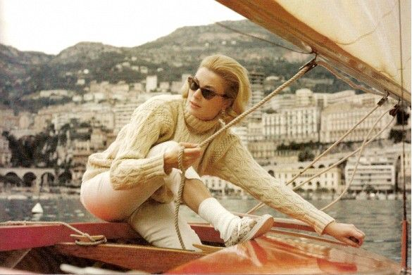 Grace Kelly sailing in a cable-knit sweater and cat-eye sunglasses? Nothing could be chicer. 20 Insanely Chic Vintage Travel Photos to Inspire You via @mydomaine