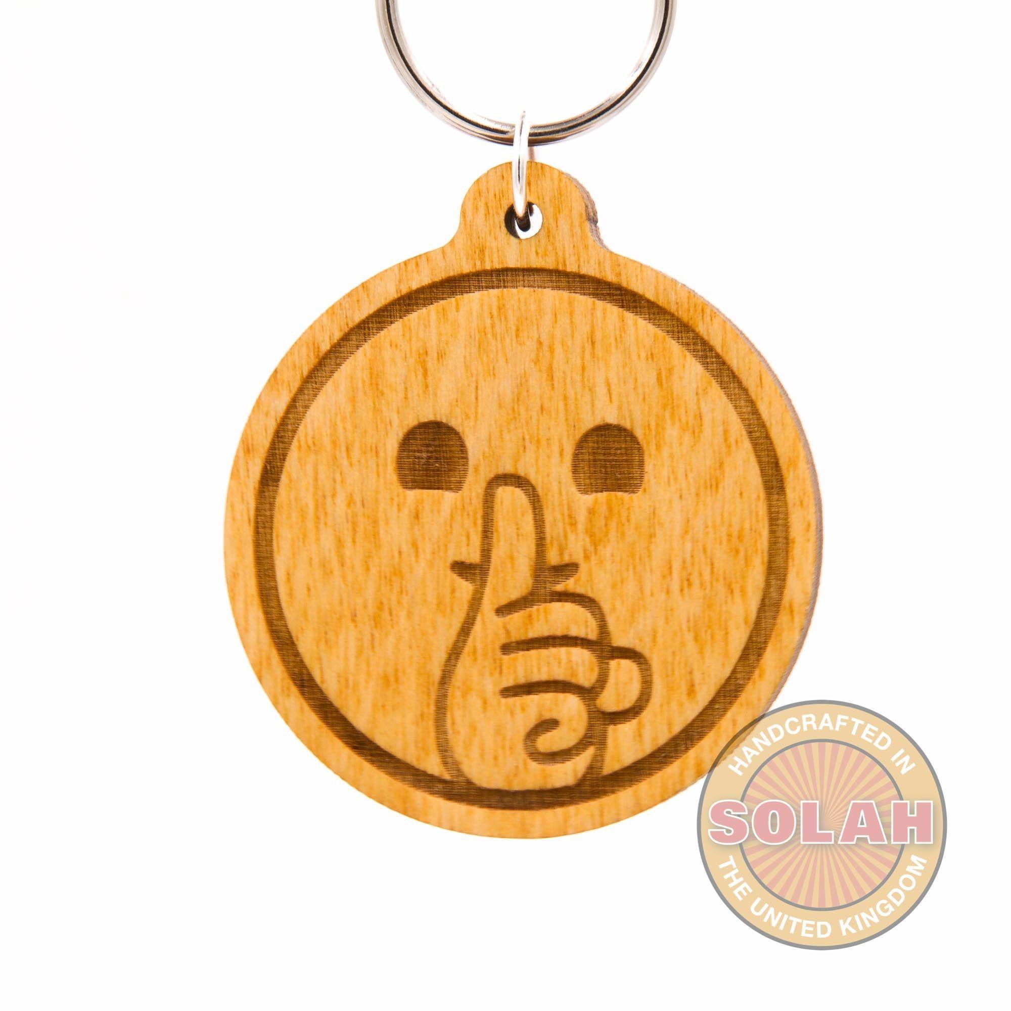 Shush Face Emoji Keychain Shh Emoji Shushing Face Emoji Etsy Emoji Shh Emoji Wood Keychain