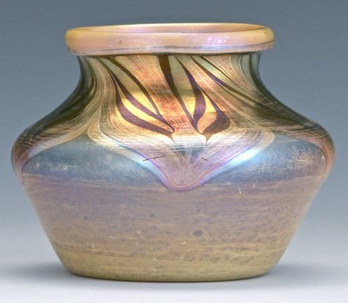 Antique Arts & Crafts Tiffany Studios Favrile Glass Cabinet Vase Bowl https://www.busaccagallery.com/catalog.php?catid=82&itemid=6162&page=1