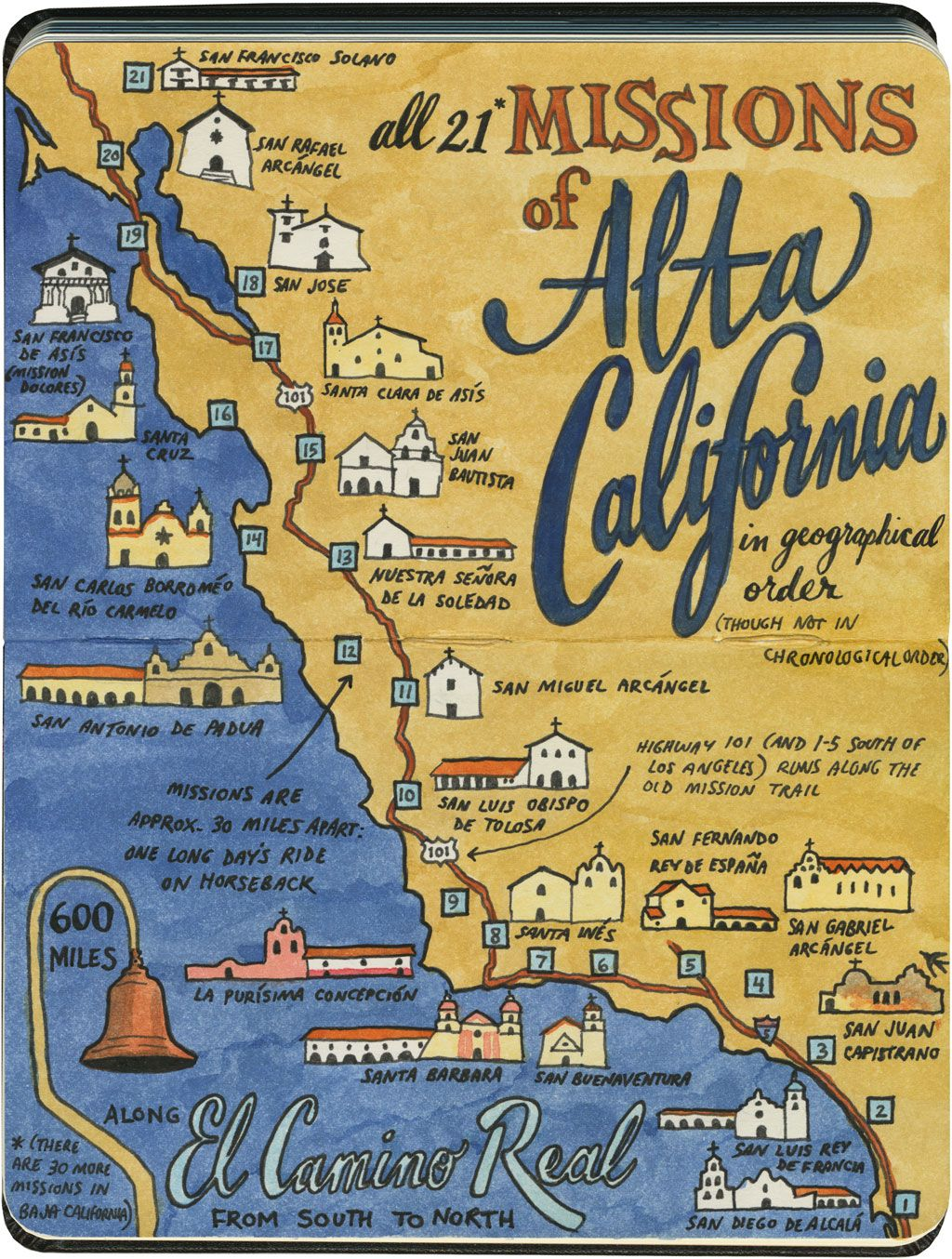 Earlier This Year I Visited All 21 California Missions And Created This Sketch Map Of The