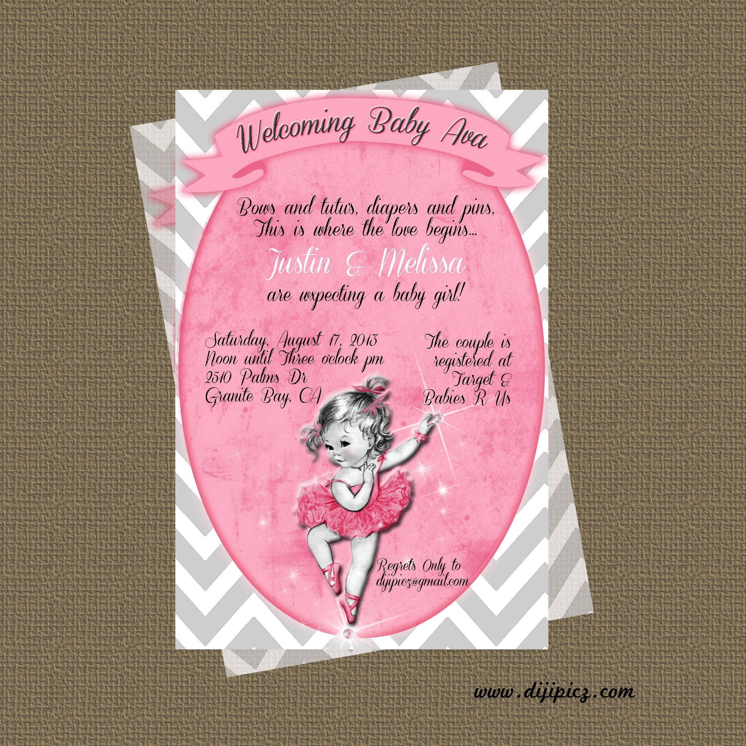 Vintage Inspired Ballerina Baby Shower Invitation For More Information ,