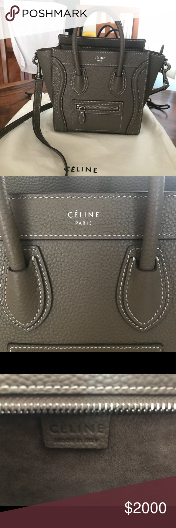 Authentic Céline Nano Luggage Authentic Drummed calfskin taupe color  removable straps comes with dust bag Excellent condition   More pics upon  request   ... f2605b1e76a0a