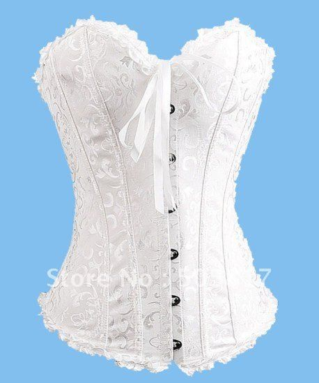 Free Ship 3pc Lot Strapless White Bridal Corset Gothic Steel Bone Brocade Wedding Dress