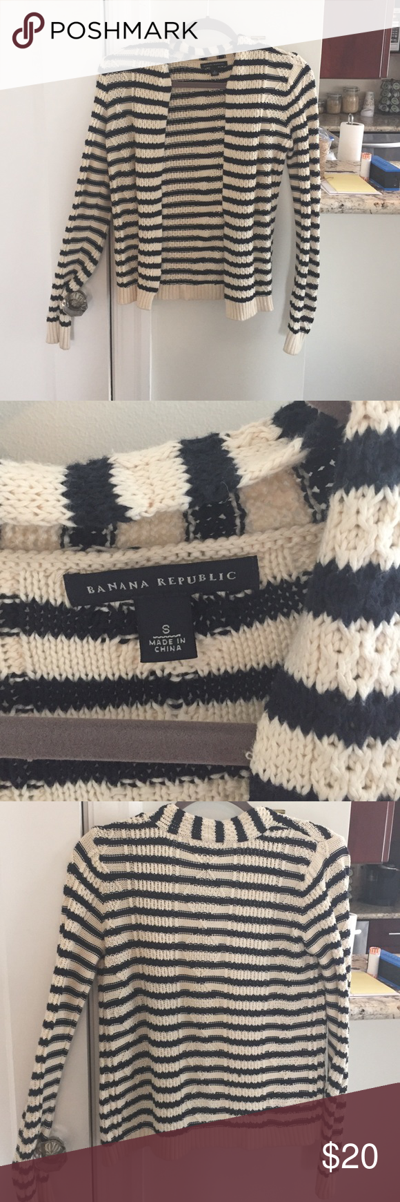 Banana republic striped sweater Cream and navy striped sweater. Worn a few times to work. Comfortable and relaxed fit,m. Smoke free and pet free home Banana Republic Sweaters Cardigans
