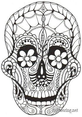 trippy skull coloring pages - Sugar Skull Tattoo Coloring Pages