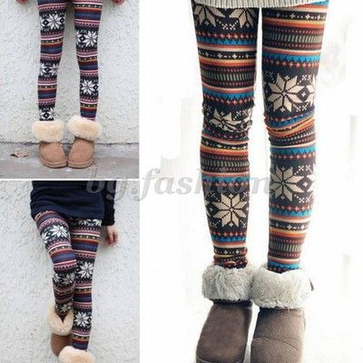 NEW Women's Soft Knitted Stripe Snowflakes Warm Leggings Tights Pants Trousers | eBay