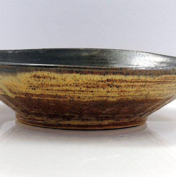 Deep Blue and Brown Handmade Ceramic Bowl with Decorative Rim