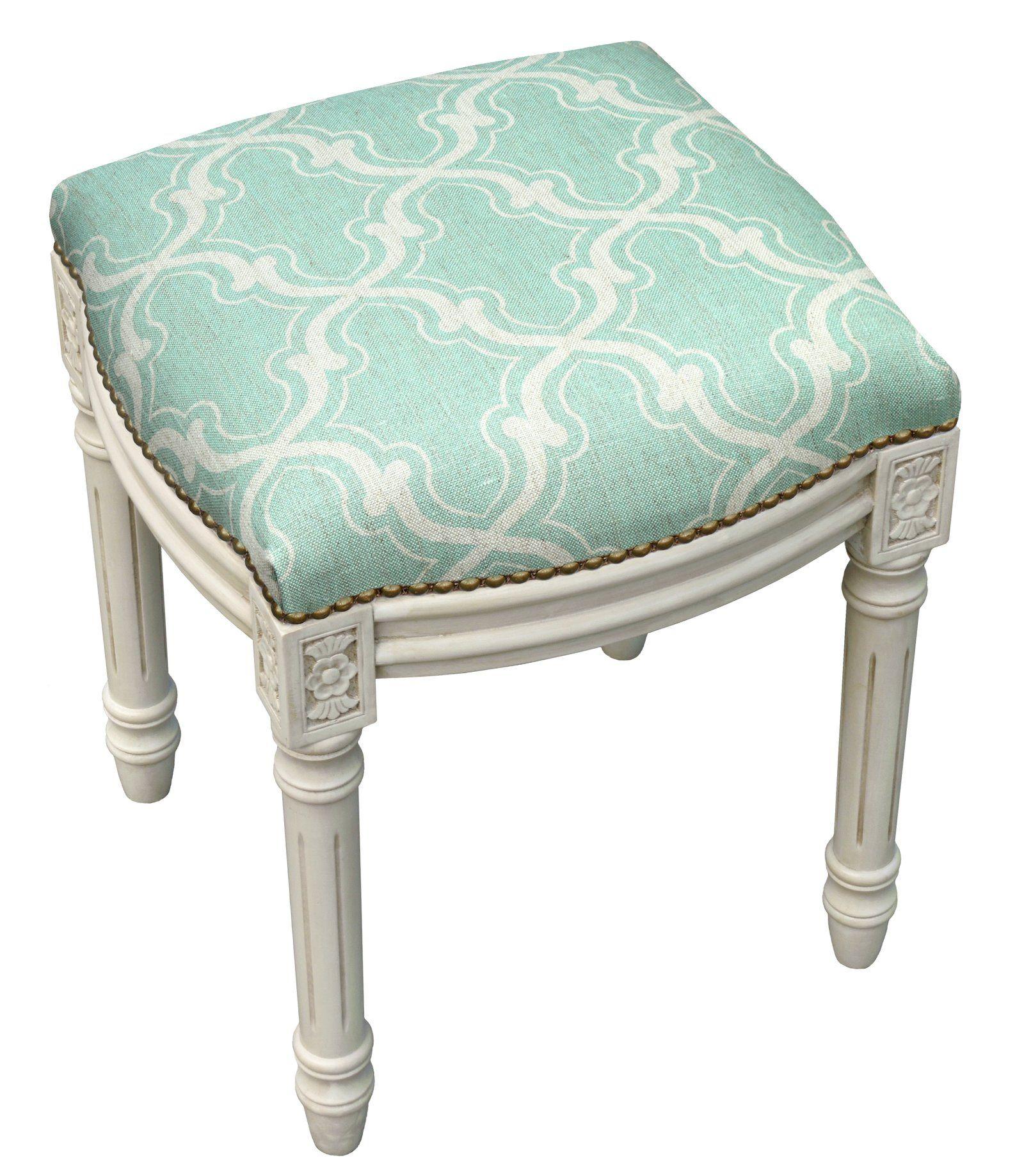 Trellis Linen Upholstered Vanity Stool Vanity Stool Vanity Seat