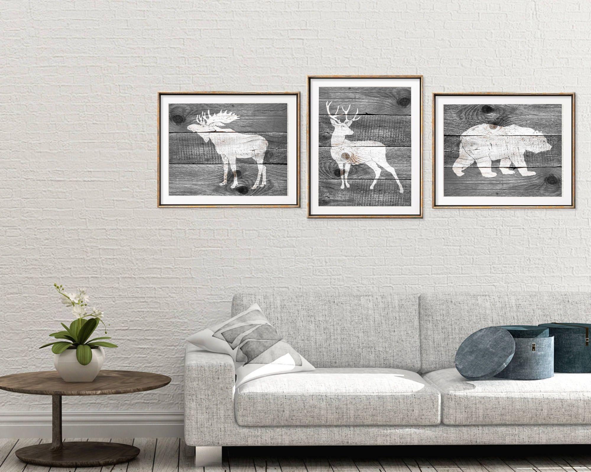 Rustic woodland nursery art set of prints rustic animal art set