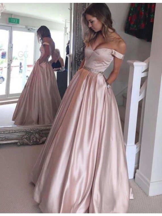 A Line Off the Shoulder Pearl Pink Prom Dress with Beading