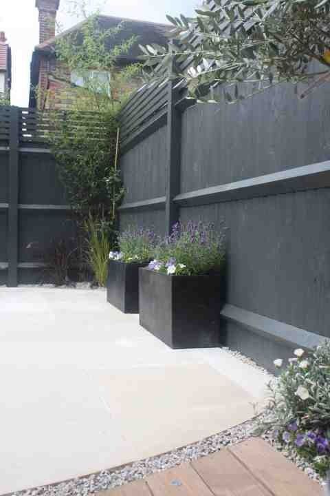 Fence Painted In Farrow And Ball Downpipe Works Beautifully As A Backdrop To Greenery And