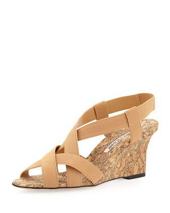 1742f911c49f4 Lastiwe Strappy Elastic Cork-Wedge Sandal, Dark Khaki by Manolo Blahnik at  Neiman Marcus.