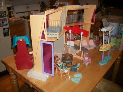 This Is Adorable: 121 PC Bratz Barbie 2 Story Ski Lodge House Furniture  Accessory Lot Busy Resort | EBay