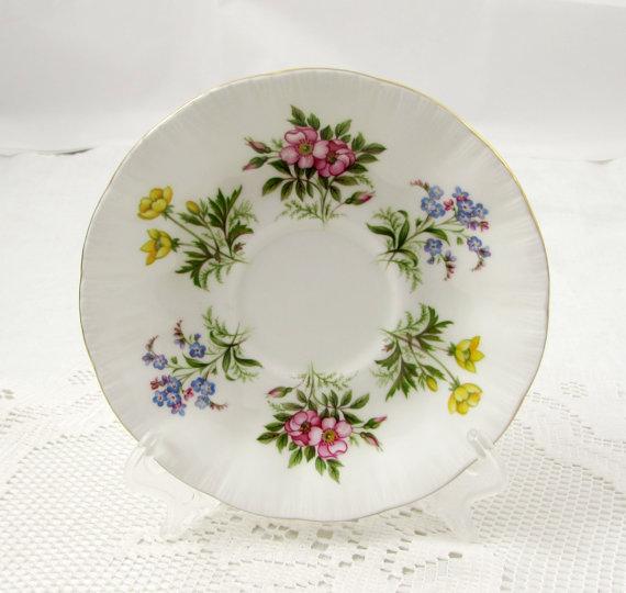 Orphan Saucer, English Flowers, Paragon Replacement Saucer