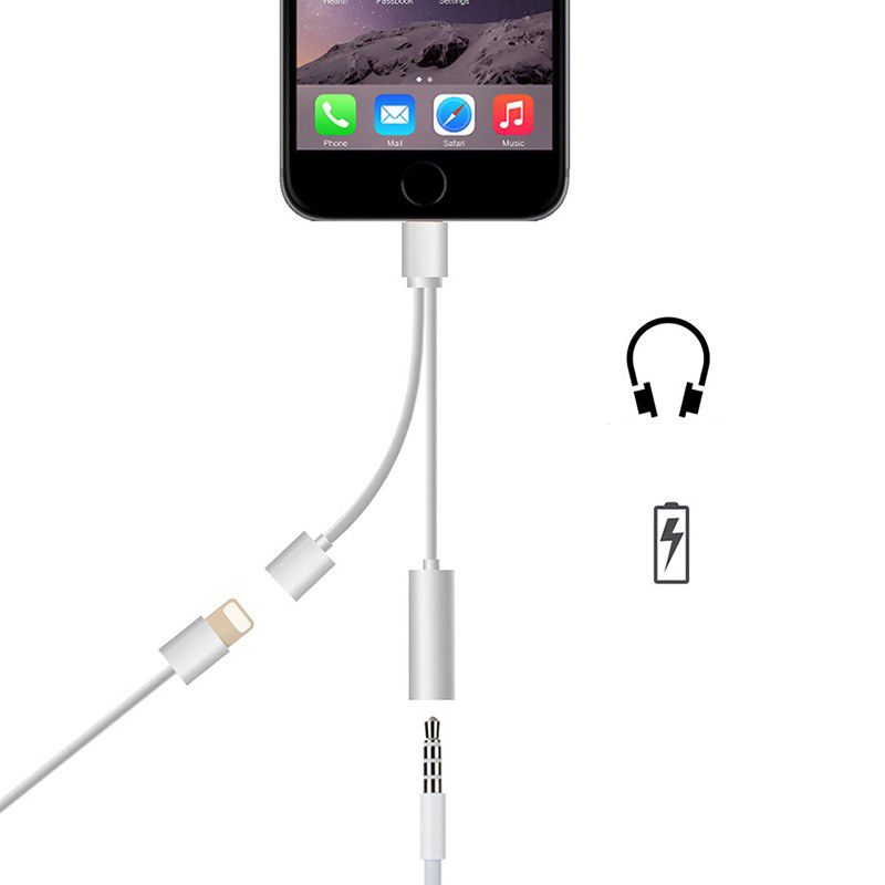 Iphone Adapter Dual Lightning Adapter Splitter 2 In 1 Aux Headphone Jack Audio Charging Cable Adapter 3 5mm Lightning Adapter For Iphone7 7plus 8 8plus X Iphone Headphones Iphone 7 Adapter Jack Audio